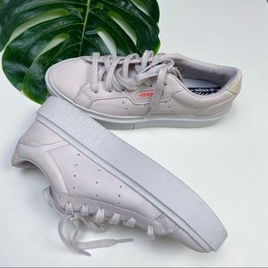 ADIDAS SLEEK SUPER W WHITE PINK LEATHER SNEAKERS